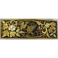 Damascene Gold Bird Rectangle Hair Barrette by Midas of Toledo Spain style 850007