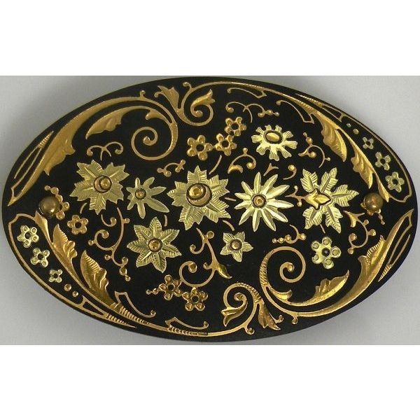 Damascene Gold Flower Oval Hair Barrette by Midas of Toledo Spain style 850008