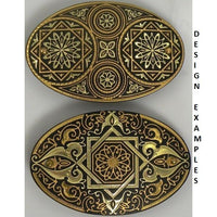Damascene Gold Geometric Oval Hair Barrette by Midas of Toledo Spain style 850008