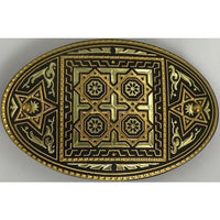 Damascene Gold Star Oval Hair Barrette by Midas of Toledo Spain style 850008