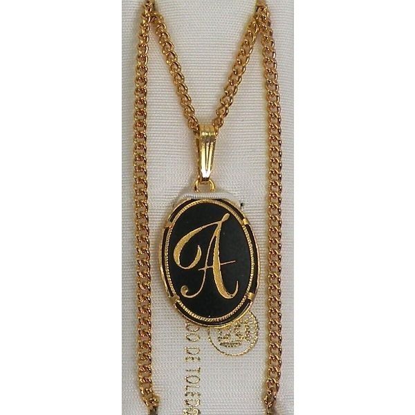 Damascene Gold Letter A Oval Pendant on Chain Necklace by Midas of Toledo Spain style 830044