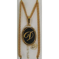 Damascene Gold Letter D Oval Pendant on Chain Necklace by Midas of Toledo Spain style 830044