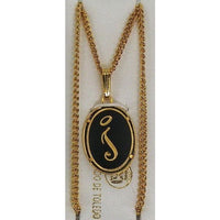 Damascene Gold Letter I Oval Pendant on Chain Necklace by Midas of Toledo Spain style 830044