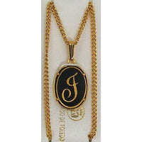 Damascene Gold Letter J Oval Pendant on Chain Necklace by Midas of Toledo Spain style 830044