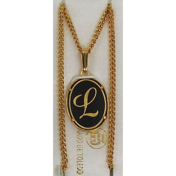 Damascene Gold Letter L Oval Pendant on Chain Necklace by Midas of Toledo Spain style 830044