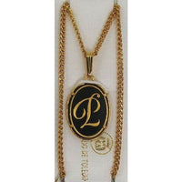 Damascene Gold Letter P Oval Pendant on Chain Necklace by Midas of Toledo Spain style 830044