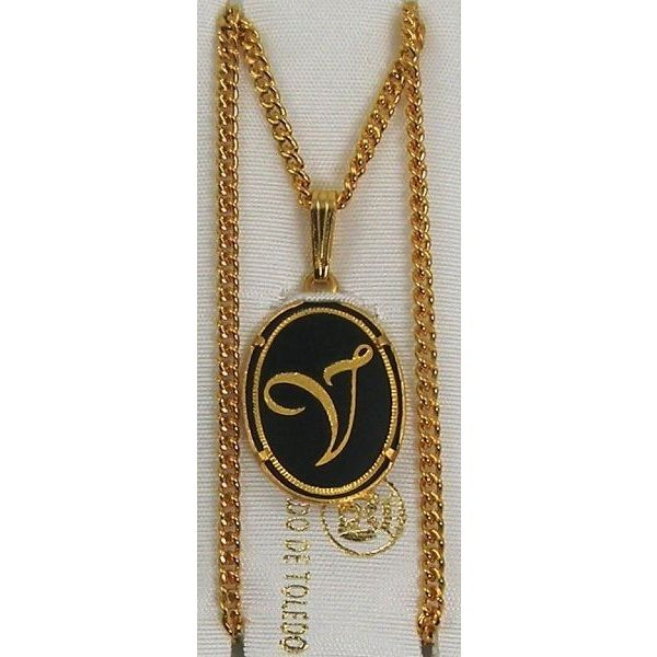 Damascene Gold Letter V Oval Pendant on Chain Necklace by Midas of Toledo Spain style 830044