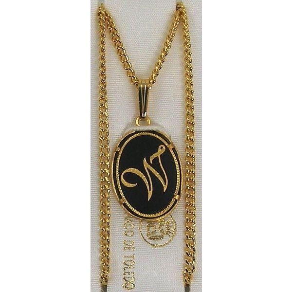 Damascene Gold Letter W Oval Pendant on Chain Necklace by Midas of Toledo Spain style 830044