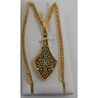 Damascene Gold Star of David Pendant Deltoid on Chain Necklace by Midas of Toledo Spain style 830042