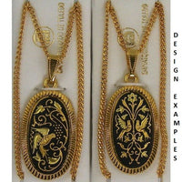 Damascene Gold Bird Oval Pendant on Chain Necklace by Midas of Toledo Spain style 830048