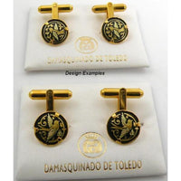 Damascene Gold Mens Cufflinks Round Bird by Midas of Toledo Spain style 836005