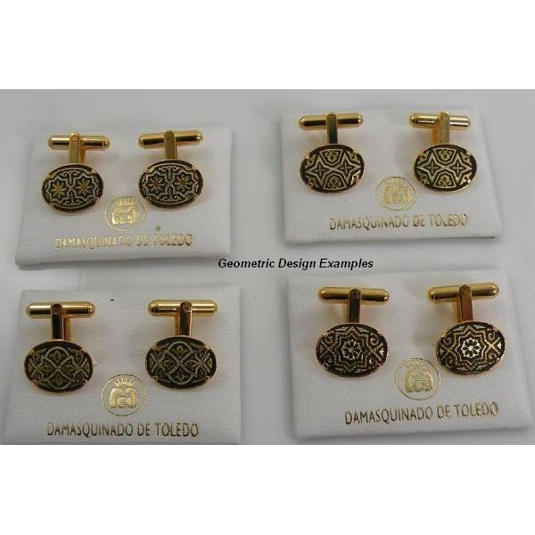Damascene Gold Mens Cufflinks Oval Geometric by Midas of Toledo Spain style 836006