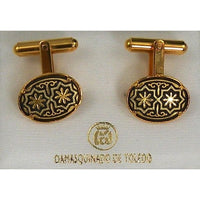 Damascene Gold Mens Cufflinks Oval Star by Midas of Toledo Spain style 836006