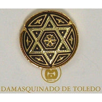 Damascene Gold Star of David Round Pin /Tie Tack by Midas of Toledo Spain style 2518