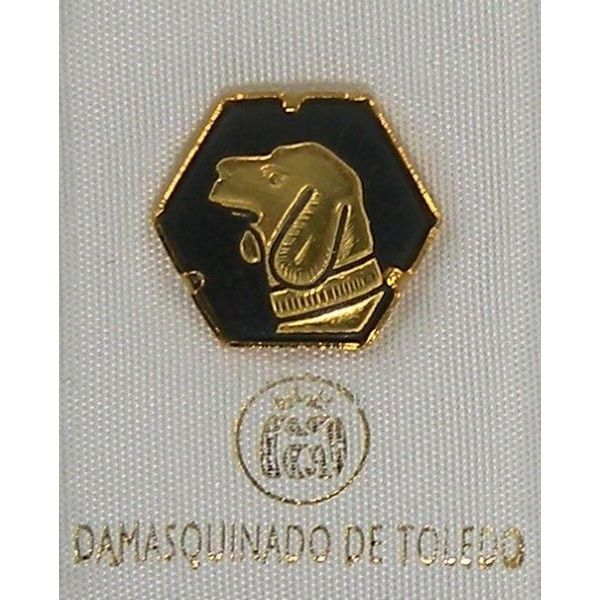 Damascene Gold Dog Hexagon Pin /Tie Tack by Midas of Toledo Spain style 2532