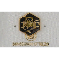 Damascene Gold Bull Hexagon Pin /Tie Tack by Midas of Toledo Spain style 2532