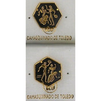 Damascene Gold Flamenco Dancer Hexagon Pin /Tie Tack by Midas of Toledo Spain style 2532