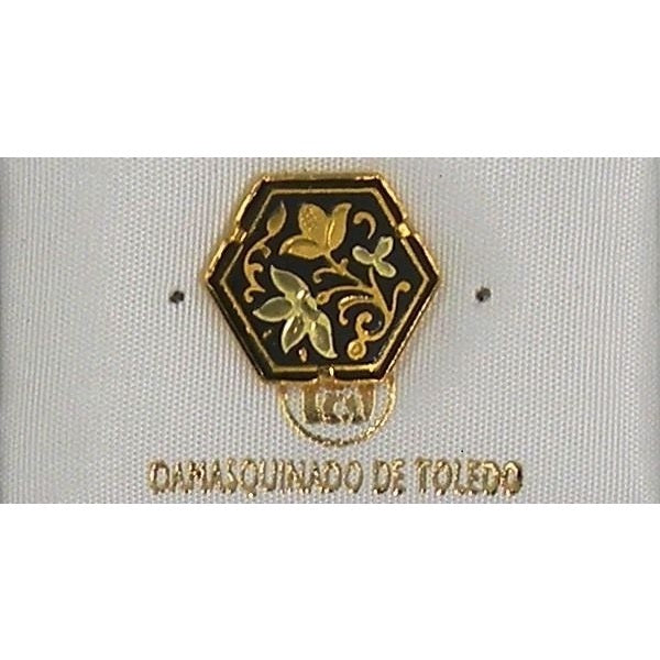 Damascene Gold Flower Hexagon Pin /Tie Tack by Midas of Toledo Spain style 2532