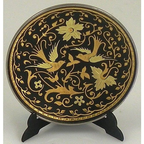 Damascene Gold Bird Round Decorative Plate by Midas of Toledo Spain style 870004-10