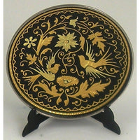 Damascene Gold Bird Round Decorative Plate by Midas of Toledo Spain style 870004-11