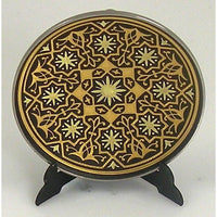 Damascene Gold Geometric Round Decorative Plate by Midas of Toledo Spain style 870004-13
