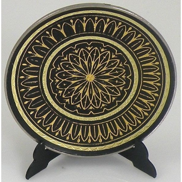 Damascene Gold Geometric Round Decorative Plate by Midas of Toledo Spain style 870004-1