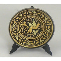 Damascene Gold Bird Round Decorative Plate by Midas of Toledo Spain style 870001-11