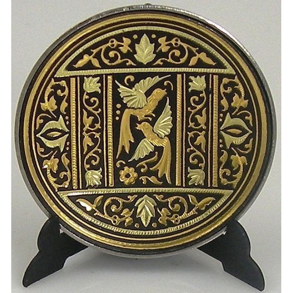 Damascene Gold Bird Round Decorative Plate by Midas of Toledo Spain style 870001-3