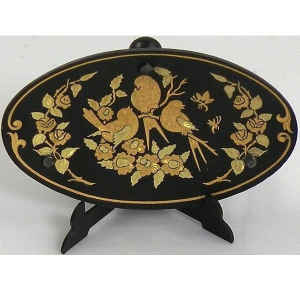 Damascene Gold Bird Oval Decorative Plate by Midas of Toledo Spain style 870009-5