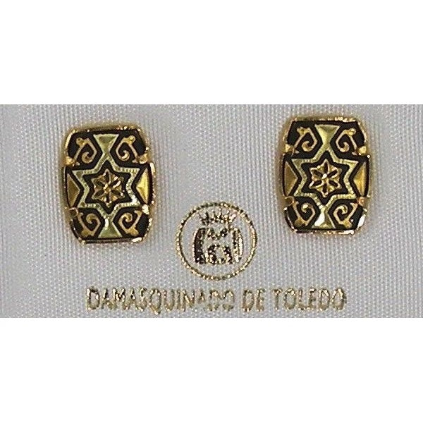 Damascene Gold 11 x 9mm Rectangle Star of David Earrings by Midas of Toledo Spain style 3115Star