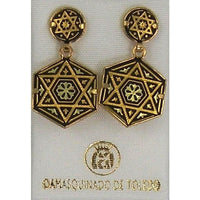 Damascene Gold 16mm x 14mm Hexagon Star of David Design Drop Earrings by Midas of Toledo Spain style 3178