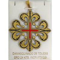Templar Knight Damascene Caltrava Cross Pendant by Marto of Toledo Spain Style 4222