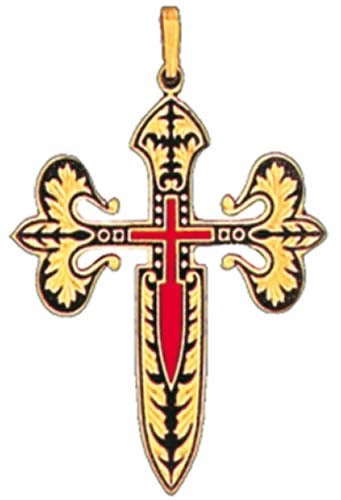 Discontinued - Templar Knight St. James Damascene Cross Pendant by Midas of Toledo Spain