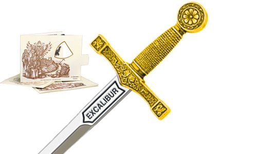 Miniature Excalibur Sword (Gold) by Marto of Toledo Spain