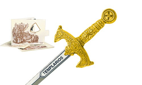 Miniature Templar Sword (Gold) by Marto of Toledo Spain