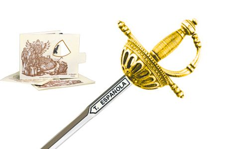 Miniature Spanish Tizona Cup Hilt Rapier Sword (Gold) by Marto of Toledo Spain