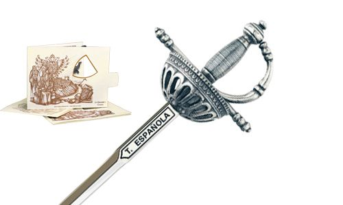 Miniature Spanish Tizona Cup Hilt Rapier Sword (Silver) by Marto of Toledo Spain