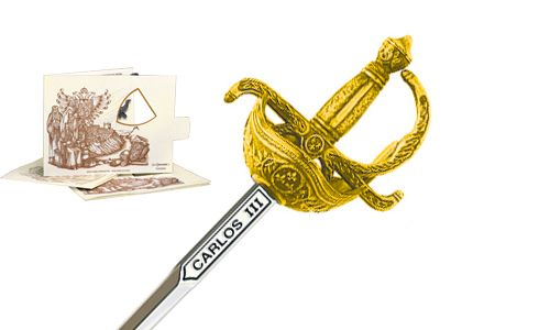 Miniature Charles III Rapier Sword (Gold) by Marto of Toledo Spain