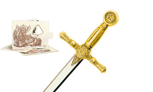 Miniature Masonic Sword (Gold) by Marto of Toledo Spain
