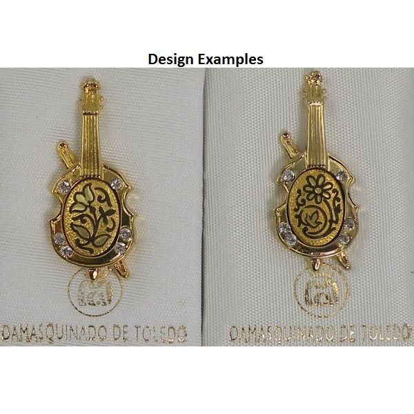 Damascene Gold Cello Musical Instrument Pin /Tie Tack by Midas of Toledo Spain style 5336