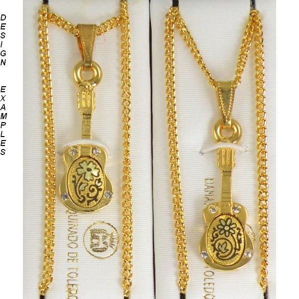 Damascene Gold Guitar Pendant on Chain Necklace by Midas of Toledo Spain style 5421