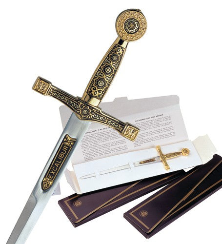 Miniature Damascene Excalibur Sword Letter Opener by Marto of Toledo Spain