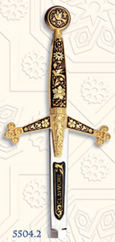 Miniature Damascene Claymore Sword Letter Opener by Marto of Toledo Spain