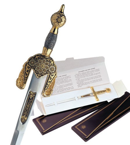 Miniature Damascene Boabdil Sword Letter Opener by Marto of Toledo Spain