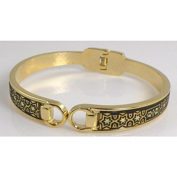 Damascene Gold Bangle Bracelet Star of David by Midas of Toledo Spain style 8006