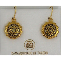 Damascene Gold Star of David Round Drop Earrings by Midas of Toledo Spain style 8103