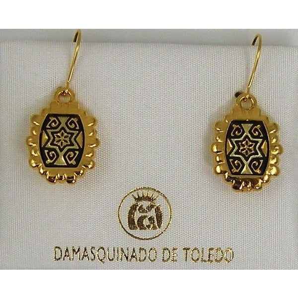 Damascene Gold Star of David Rectangle Drop Earrings by Midas of Toledo Spain style 8107