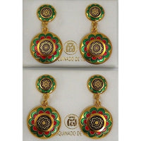 Damascene Gold with Red and Green Enamel Star of David Round Stud Drop Earrings by Midas of Toledo Spain style 8121-1
