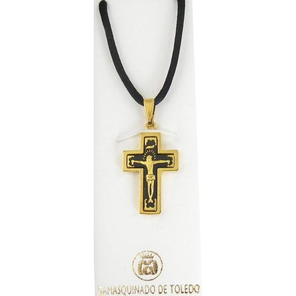Damascene Gold Cross Jesus Pendant on Black Cord Necklace by Midas of Toledo Spain style 8234