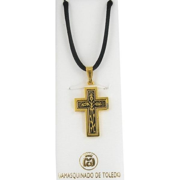 Damascene Gold Cross Thorn Pendant on Black Cord Necklace by Midas of Toledo Spain style 8234